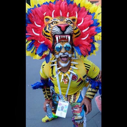 Болельщик в образе тигра.