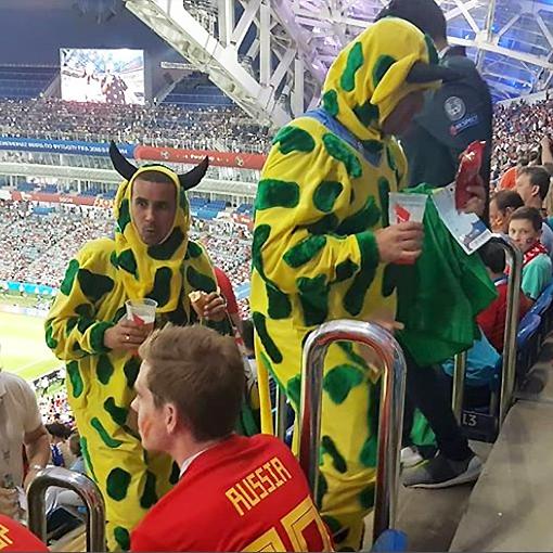 Бразильские фанаты в костюме коров
