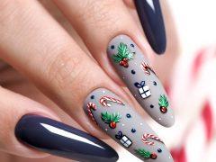 Новогодний дизайн ногтей. Фото: instagram.com/puro.nails