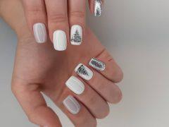 Новогодний дизайн ногтей. Фото: instagram.com/kuzovkova_nail