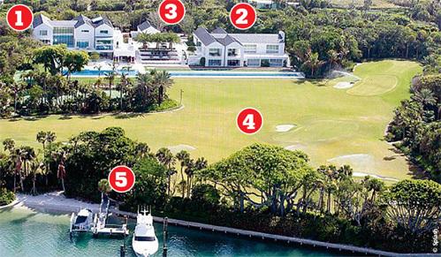 Новое поместье спортсмена стоит $60 миллионов: 1 Дом ВУДСА: спальни, гостиная, столовая, кухня, ванные, кинотеатр, комната для игр; 2 Дом ВУДСА: тренажерный зал, оранжереи, туалеты, вспомогательные помещения ; 3 Гостевой дом; 4 Поле для гольфа; 5 Причал