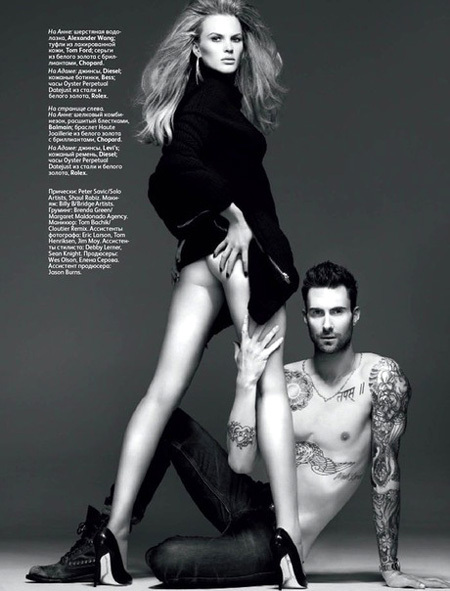 Topless adam levine shows his body off and girlfriend, anne vyalitsyna, wears lingerie while filming the new maroon 5