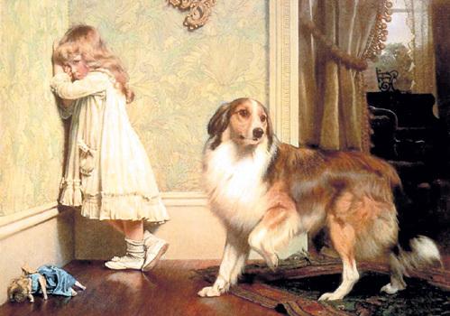 Ребёнок плачет в углу, один на один с псом, кукла валяется на полу. Ювеналы бы тут же изъяли ребёнка из семьи