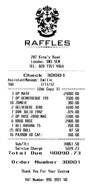 Одних чаевых компания оставила 5229 ф. ст., а выпила на 34 861,5 ф. ст.!