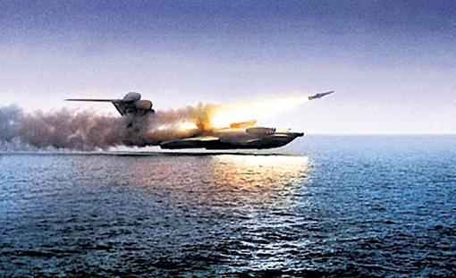 Ударный экраноплан-ракетоносец «Лунь» на испытаниях осуществил пуск ракеты «Москит» на максимальной скорости корабля - 500 км/ч
