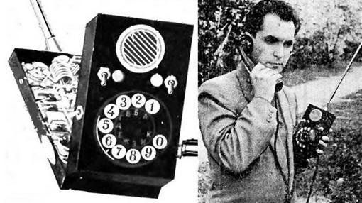 Леонид КУПРИЯНОВИЧ демонстрирует первый в мире мобильный телефон ЛК-1