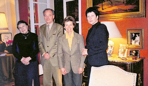 Слева направо: Татьяна МАРЕТ-ФРОЛОФФ, князь МУРУЗИ, княжна МУРУЗИ и обозреватель «ЭГ»