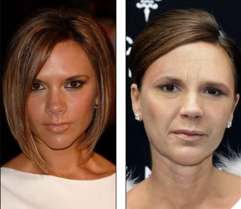 Слева: так Виктория Бекхэм выглядит сейчас. Справа: а так, по мнению художника, она может выглядеть через 10 лет
