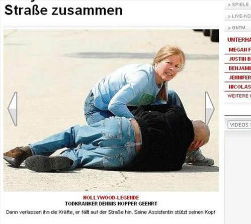 Хоппер, так ослаб, что упал на улице. Снимки ослабевшего от страшной болезни актера обошли все мировые СМИ.