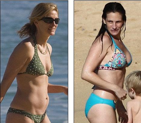 Еще год назад грудь Джулии Робертс была гораздо более скромной (слева), чем сейчас (справа)